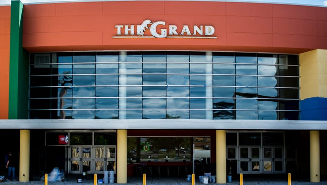The updated facade of the The Grand 16 Theatre on Johnston Street in Lafayette, La., is pictured on Thursday, Nov. 5, 2015.