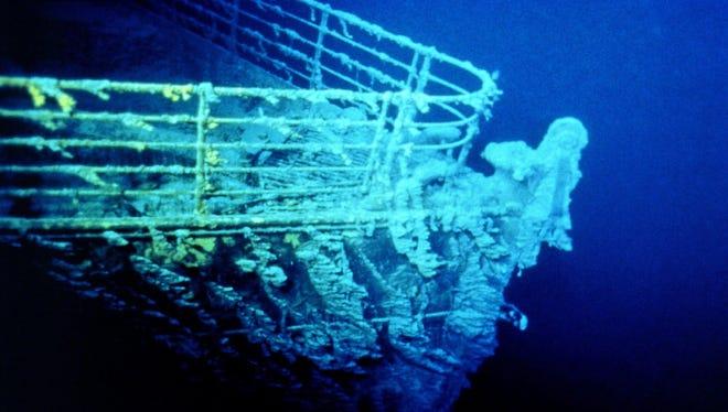 Micro-organisms encrust the bow of the sucken Titanic.