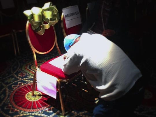 "Comedian Tracy Morgan posted this photo of himself praying at a chair he left empty during his Dover Down concert Friday to memorialize his friend James ""Jimmy Mack"" McNair, who was killed in the 2014 bus-truck accident on Morgan's way back from a Dover Downs concert 2 1/2 years  ago."