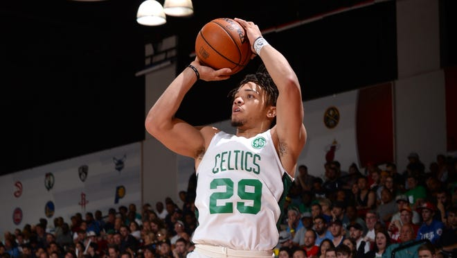 LAS VEGAS, NV - JULY 9: Carsen Edwards #29 of the Boston Celtics ;strobe; against the Denver Nuggets on July 9, 2019 at the Cox Pavilion in Las Vegas, Nevada. NOTE TO USER: User expressly acknowledges and agrees that, by downloading and/or using this photograph, user is consenting to the terms and conditions of the Getty Images License Agreement. Mandatory Copyright Notice: Copyright 2019 NBAE (Photo by Bart Young/NBAE via Getty Images)