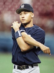 Rookie Derek Jeter of the New York Yankees warms up