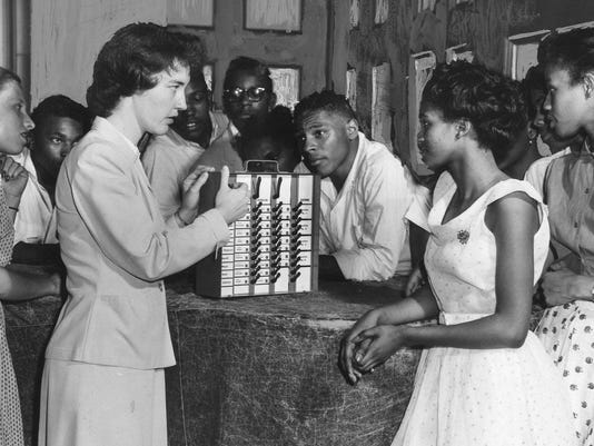 Howard High vote machine June 3 1954 1257p
