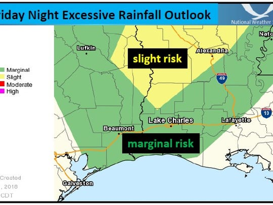 Central Louisiana is at risk of getting excessive rainfall