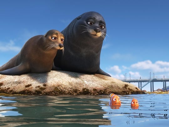 """Marlin and Nemo get guidance from a pair of lazy sea lions in an effort to catch up with Dory. Featuring Idris Elba as the voice of Fluke and Dominic West as the voice of Rudder in """"Finding Dory."""""""