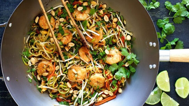 Photo courtesy of Carol Borchardt Shrimp Pad Thai with Zucchini Noodles is a low-carb twist on the Southeast Asian classic