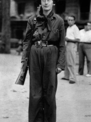 Simone Weil in 1936 during the Spanish Civil War, when she was in the Durruti Column.