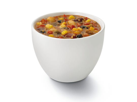 Einstein Bros Bagels offers a Southwest veggie-quinoa soup made with vegetable broth, four kinds of beans and several cooked grains, including quinoa, black barley, wheatberries and rye.