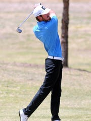Snyder's Jake Leatherwood hits a shot during the second day of the Region I-4A tournament at the Shadow Hills Golf Club on Tuesday.  Leatherwood finished seventh individually and qualified for state shooting a 148.
