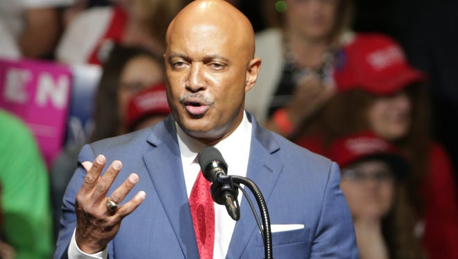 Curtis Hill, Indiana's Attorney General, warms up the crowd at the day's Trump and Pence rally at North Side Gymnasium, Elkhart, Thursday, May 10, 2018.