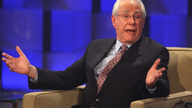 In this Aug. 9, 2007, file photo, former Sen. Mike Gravel speaks at the Visible Vote '08 Presidential Forum in Los Angeles.
