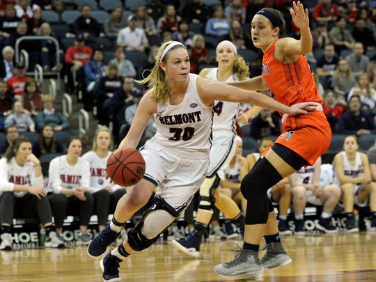 Belmont's Ellie Harmeyer (30) drives during the championship of the Ohio Valley Conference basketball tournament last season.