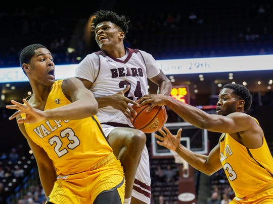 Alize Johnson, of Missouri State, gets blocked by Max Joseph, of Valparaiso, while going up for the shot during the Bears game against the Crusaders at JQH Arena on Wednesday, Jan. 17, 2018.