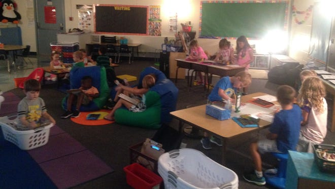 Some classrooms at Lakewood Elementary, there is alternative seating in addition to the traditional desks.