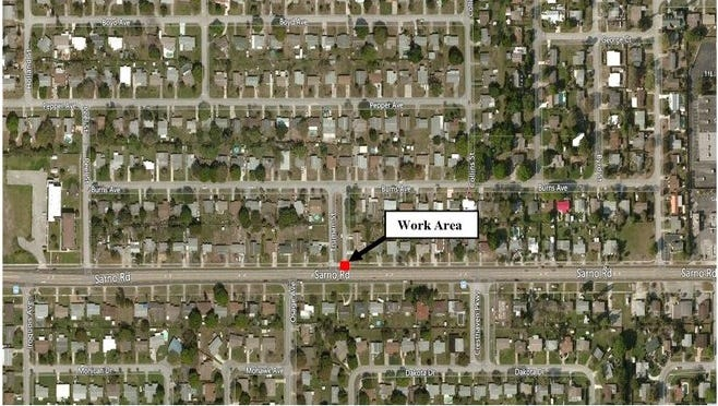The westbound outside lane of Sarno Road will close at 12:30 p.m. Aug. 22, 2017.