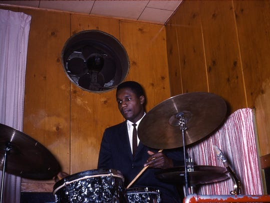 Clarence Becton on drums plays the Pythodd Club in