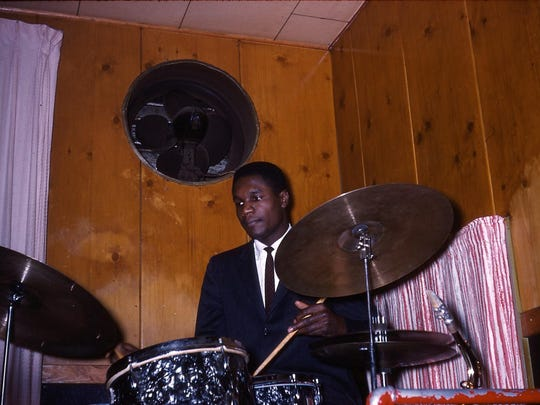 Clarence Becton on drums plays the Pythodd Club in this circa 1961 photo.