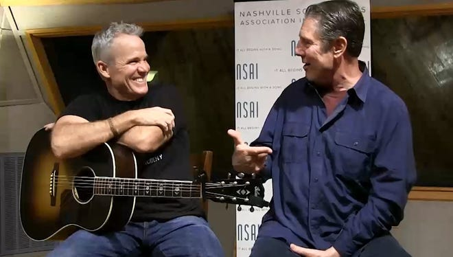 Songwriter Casey Beathard, left, talks to Bart Herbison about songwriting.