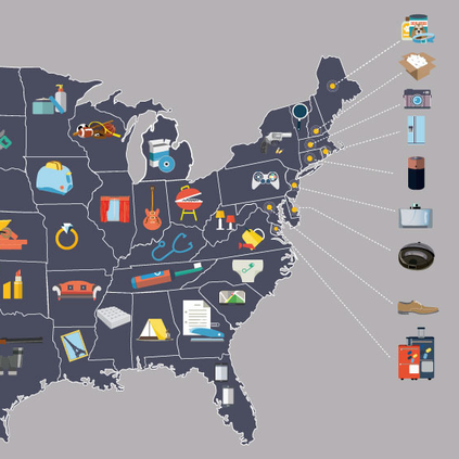 eBay mapped the things each state by what they buy online.