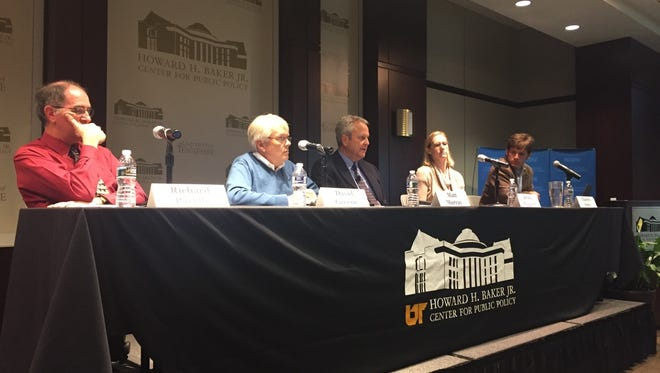 University of Tennessee professors (left to right) Richard Pacelle, David Greene, Matthew Murray, Krista Wiegand and Charles Sims on Wednesday explored what president-elect Donald Trump's administration might look like. The Howard H. Baker Center for Public Policy hosted the event.