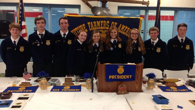 Pictured above are the 2017-2018 Union County FFA leadership team: Pictured left to right: Ethan Wallace, Kyle Shirel, Mason Welden, Mallory White, Morgan Day, Jamee French, McKayla Robinson, Tyler Fuesler, Micah Coy.
