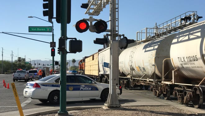 A pedestrian was seriously injured after being struck by a train  at Van Buren Street and 19th Avenue in Phoenix on October 16, 2017.
