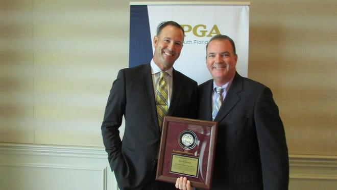 Ken McMaster of Miromar Lakes Beach & Golf Club, shown earlier after winning the Southwest Chapter PGA Professional of the Year earlier this year, was named the South Florida PGA Section Golf Professional of the Year last week. He will be honored at the awards ceremony on Nov. 13. Naples'  Brendan Cunningham (Hall of Fame), Pelican's Nest's Dan Gawronski (Bill Strausbaugh Award) and Royal Poinciana's Andrew Filbert (Player of the Year) also will be recognized.