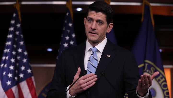 Speaker Paul Ryan, R-Wis., conducts his weekly news