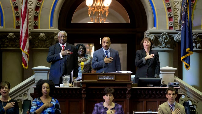 Assembly Speaker Carl Heastie, D-Bronx,  presides in the Assembly Chamber during the opening day of the legislative session on Wednesday, Jan. 6, 2016, in Albany, N.Y. (AP Photo/Mike Groll)