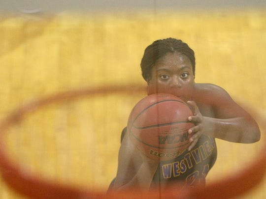 Westview's Tasia Jones (21) shoots a free throw Saturday at Gibson County. She had 14 points.