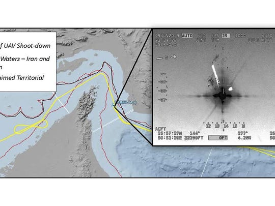 This image released Friday, June 21, 2019 by the U.S. military's Central Command shows what it describes as the flight path and the site where Iran shot down a U.S. Navy RQ-4A Global Hawk in the Strait of Hormuz on Thursday, June 20, 2019. Iran says it shot down the drone over Iranian territorial waters. Iran's Revolutionary Guard shot down the drone amid heightened tensions between Tehran and Washington over its collapsing nuclear deal with world powers. (U.S. Central Command via AP)