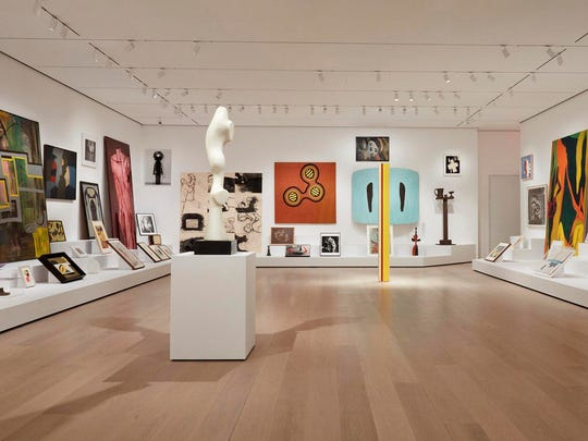 """The installation """"Artist's Choice: Amy Sillman – The Shape of Shape"""" is displayed as part of the renovation and expansion effort at the Museum of Modern Art in New York."""