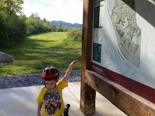 Campbell Ryan Guerin, 3, on the mountain bike trails at Bells Bend Park. He will be 4 in November.