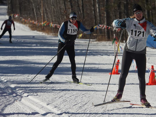 Nordic skiers compete in the 2012 Badger State Winter Games at Nine Mile County Forest Recreaton Area.