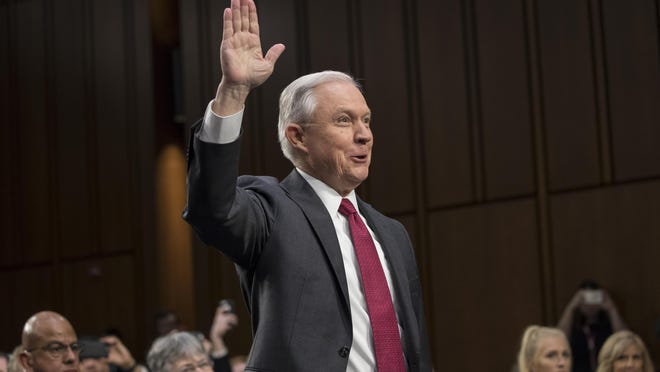 Attorney General Jeff Sessions is sworn in on Capitol Hill in Washington, Tuesday, June 13, 2017, prior to testifying before the Senate Intelligence Committee hearing about his role in the firing of James Comey, his Russian contacts during the campaign and his decision to recuse himself from an investigation into possible ties between Moscow and associates of President Donald Trump. (AP Photo/J. Scott Applewhite)
