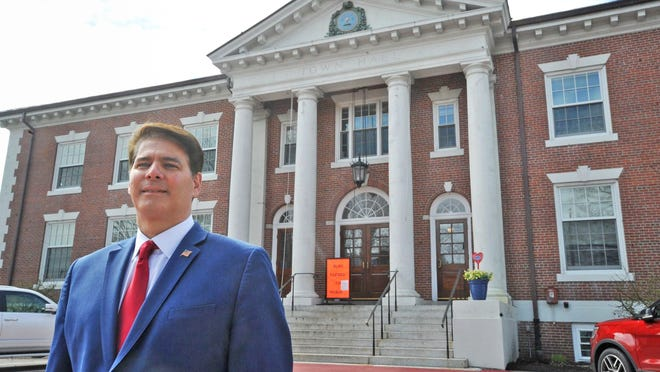Braintree Mayor Charles Kokoris is pictured in front of Braintree Town Hall, Wednesday, April 8, 2020.