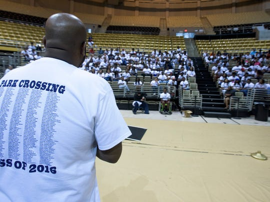 Rehearsal for Park Crossing High School graduation is held at the Alabama State University Acadome in Montgomery, Ala. on Thursday May 19, 2016.