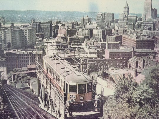 This image from 1947 shows a streetcar on Route 49 up the Mt. Adams incline. This car also stopped at the zoo and Eden Park.