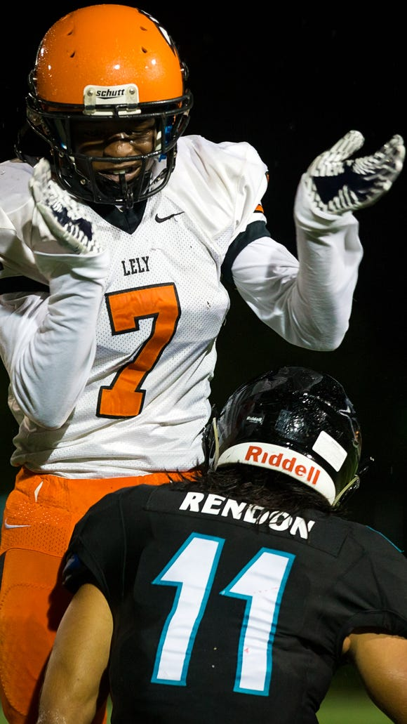 Lely's Blazidy Duprat celebrates a tackle of Gulf Coast