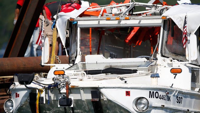 The duck boat that sank in Table Rock Lake in Branson, Missouri, on July 19, 2018, was raised to the surface  July 23, 2018. Seventeen people were killed when the duck boat sank.
