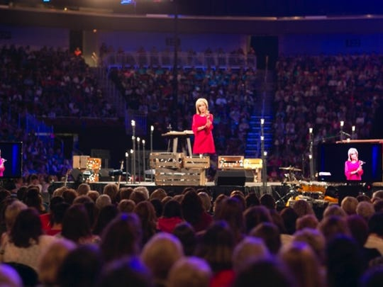 Beth Moore speaks during Living Proof Live in Wichita.
