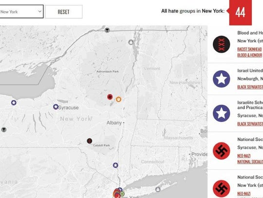 Map showing location of reported hate groups, prepared