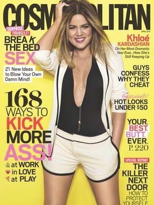 Khloe Kardashian poses for the April issue of 'Cosmopolitan' magazine.