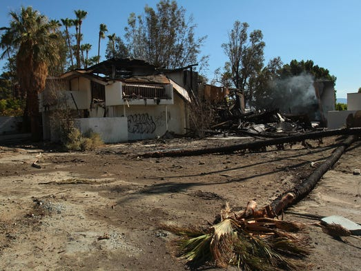 A two-alarm fire Wednesday night destroyed this two-story building of guest rooms at the historic Palm Springs Racquet Club. Multiple palm trees burned, and combined with winds, the fire may have caused some minimal damage to roofs of other buildings on the property, Palm Springs Fire Department Deputy Chief Ron Beverly said. Photographed the morning after, on Thursday, July 24, 2014 in Palm Springs, Calif.