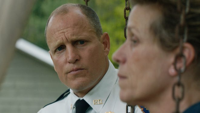 """In """"Three Billboards Outside Ebbing, Missouri,"""" Willoughby (Woody Harrelson) hasn't been able to find out who killed the daughter of Mildred (Frances McDormand)."""