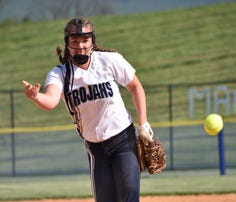 Chambersburg's Leah Hunt releases a pitch during a Mid Penn Commonwealth softball game on Tuesday, May 9, 2017 against Cumberland Valley. The Trojans won 7-0.