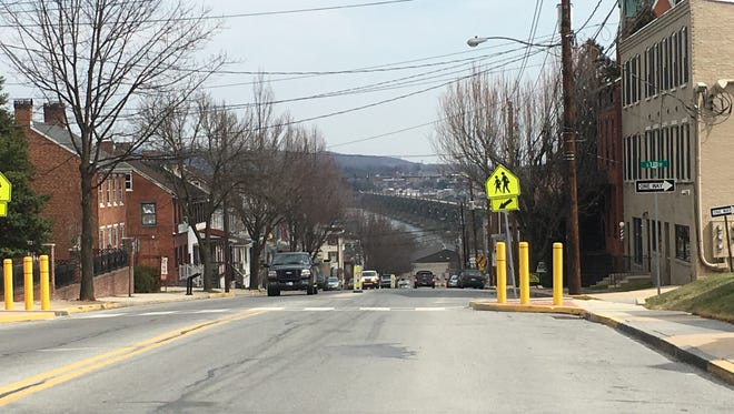 The Wrightsville Bridge seen from the top of Hellam Street.