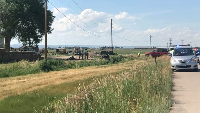 The scene near Colorado Highway 1 and Larimer County Road 62 after a serious motorcycle crash .