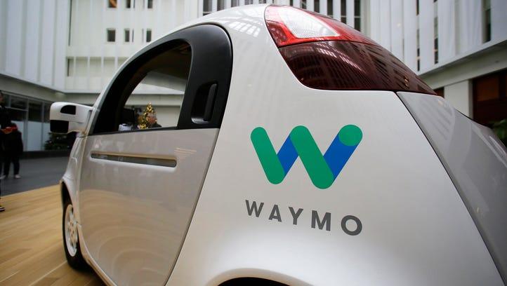 The Waymo driverless car is displayed on Dec. 13, 2016