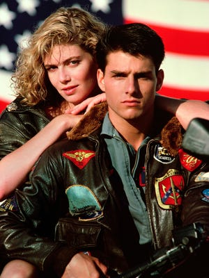 "Tom Cruise and Kelly McGillis in 1986's ""Top Gun."""