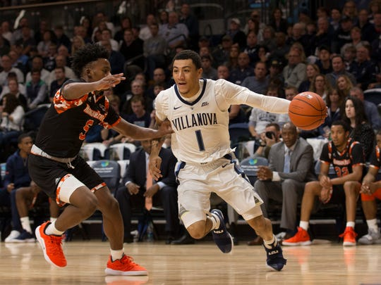 VILLANOVA, PA - NOVEMBER 06: Jahvon Quinerly #1 of the Villanova Wildcats drives to the basket against Sheryn Devonish-Prince Jr. #5 of the Morgan State Bears in the first half at Finneran Pavilion on November 6, 2018 in Villanova, Pennsylvania. (Photo by Mitchell Leff/Getty Images)